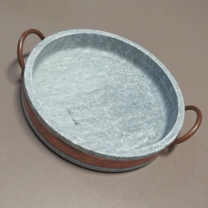 Frigideira 22,5cm em Pedra Sabão com Alça em Cobre