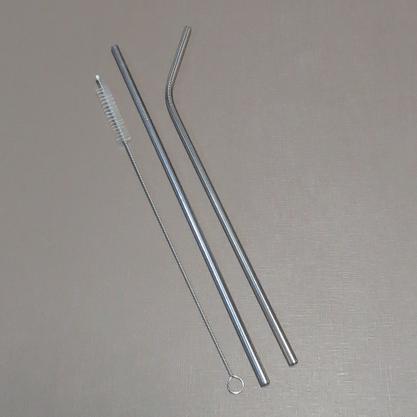 KIt Composto por Canudos em Inox e Escova para Limpeza