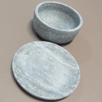 Tigela Bowl 550ml com Prato em Pedra Sabão