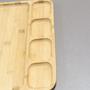 Gamela Petisqueira Retangular em Bambu com 5 Divisórias